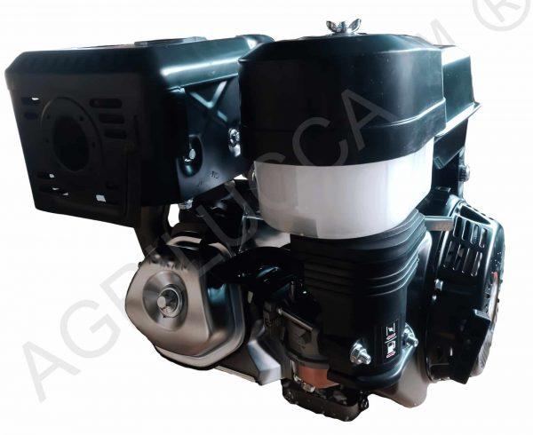 alt=Motore a scoppio 18 hp avvio elettrico con filtro ad olio vista lato